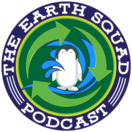 Round logo with water, recycle arrows and penguin as part of The Earth Squad Logo